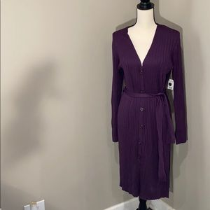 Woman's ribbed duster m 8-10 tt ribbed with belt